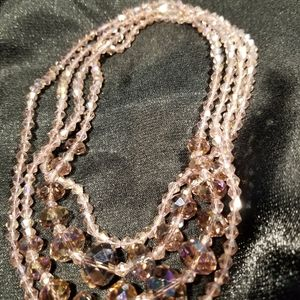 Lavender crystal bead long necklace